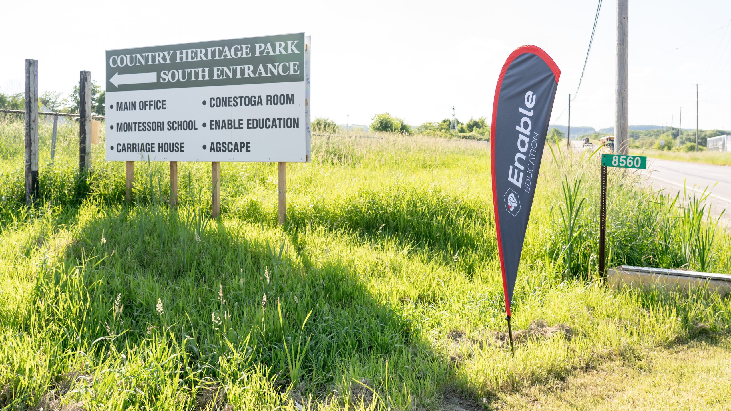 Enter through the SOUTH entrance of Country Heritage park where our Enable flag is located.