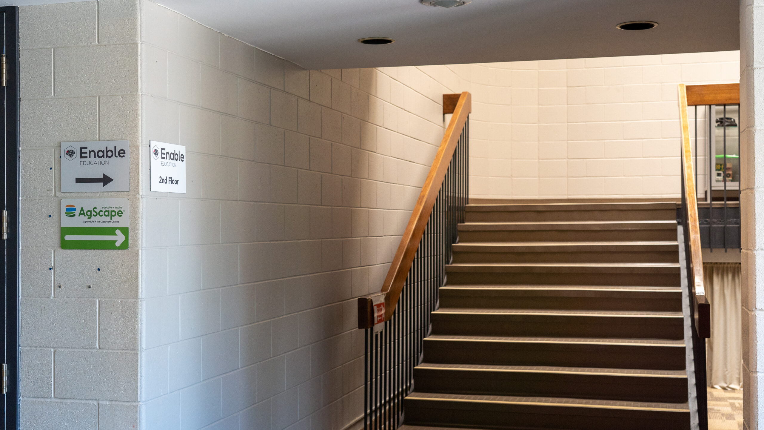 Inside, use the stairs to your right to reach the second floor. There is also an elevator to the right of the stairs.