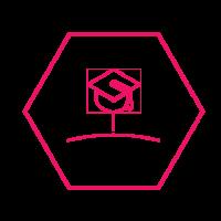 Graduation cap icon inside hexagon