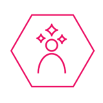 Person icon with sparkles inside hexagon
